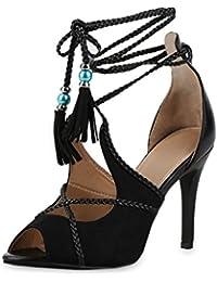 5aa2c83ce8c98e SCARPE VITA Damen Sandaletten High Heels mit Pfennigabsatz Quasten  Zierperlen