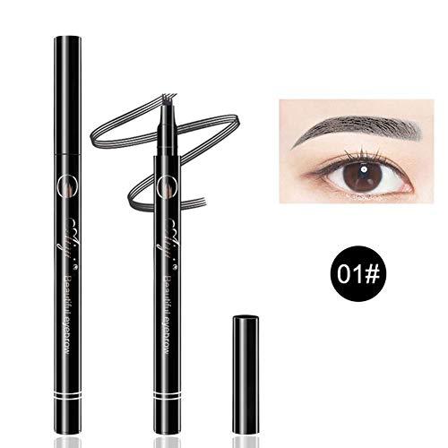 Liquid Waterproof Eye Makeup Remover (Fishyu Liquid Eyebrow Pencil Waterproof with 4 Micro Fork Tip Simulate Real Eyebrows)