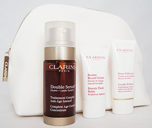 Clarins Serum Antietà + Crema Exfoliante + Balsamo Flash di Belleza + caso spogliatoio Double Serum - 1 Pack