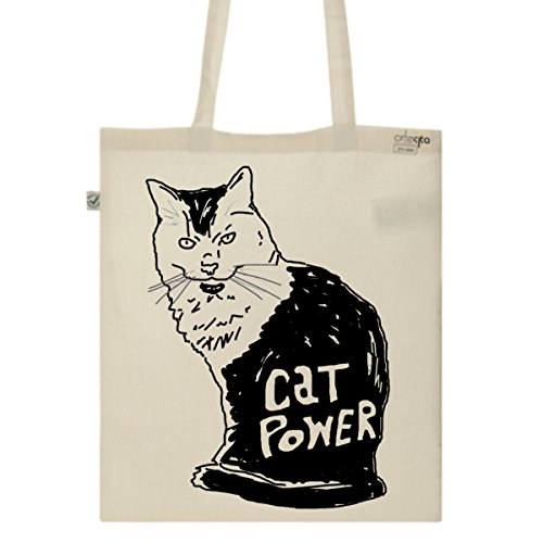 Tote Bag Imprimé Ecru - Toile en coton bio - Cat power
