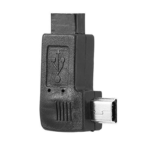 Pudincoco Schwarz Licht Gewicht Mini 5 Pin Stecker auf Micro USB 5 Pin Buchse 90 Grad Links/Rechts Winkel Adapter Konverter Plug and Play (schwarz) (90-grad-licht-buchse-adapter)