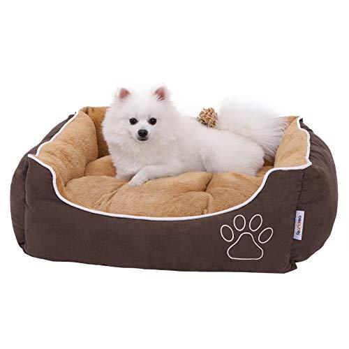 FEANDREA Cama para Perros, Sofá para Perros, Cesta para Perro con cojín extraíble, Marrón y Beige, 75 x 58 x 22 cm, PGW05YC