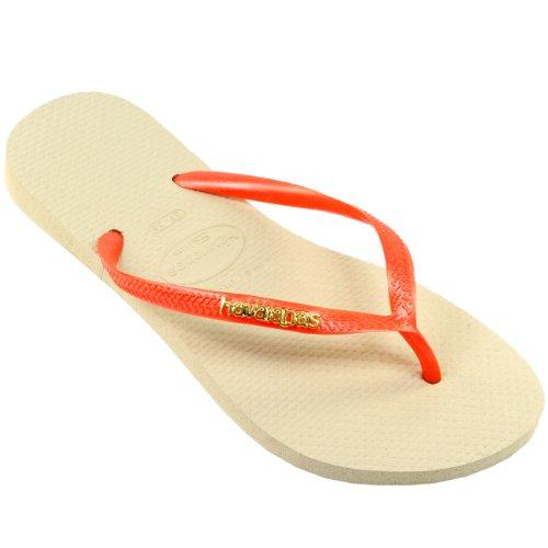 Femmes Havaianas Slim Logo Métallique Tongs Playa Plage Sandale Nouveau Sand Gris