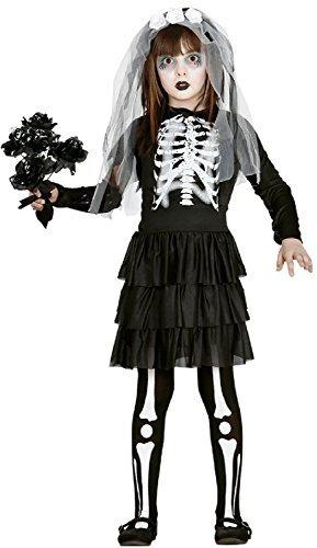 Bride Kinder Kostüm Corpse - Fancy Me Mädchen Skelett Corpse Bride TV Buch Film Halloween Horror unheimlich Kostüm Kleid Outfit 5-12 Jahre - 5-6 Years