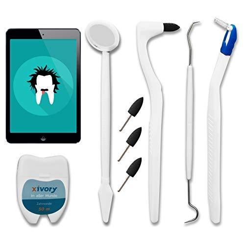 Xivory-Set 8 in 1 Set 4 Zahnsteinentferner mit Zahnseide, Zahnspiegel, Zahnarzt-Sonde, Interdentalbürste für Zahnreinigung Weisse Zähne aufhellen zahnreinigung zahnpflege (Xivory set)