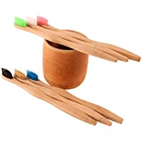 6x Soft Go Green Bamboo Toothbrushes with a FREE Naturally Carved Bamboo Toothbrush Holder – Biodegradable - Eco-Friendly - BPA Free – Sustainable Bamboo Wood
