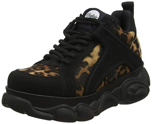 Buffalo Damen Corin Sneaker, Mehrfarbig (Leopard/Black 001), 38 EU