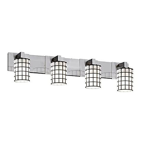 Justice Design Group - Wire Glass Collection - Modular Bath Bar - Cylinder with Flat Rim - Brushed Nickel Finish and Grid with Opal Glass by Justice Design Group