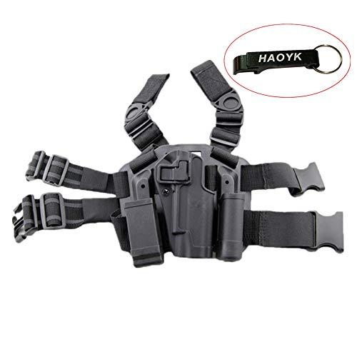 haoYK Einstellbare Tactical Airsoft Pistol Drop Bein Holster Tasche Oberschenkel Rechten Bein Holster mit Magazin Taschenlampe Beutel für Colt 1911 M1911 (Black) -