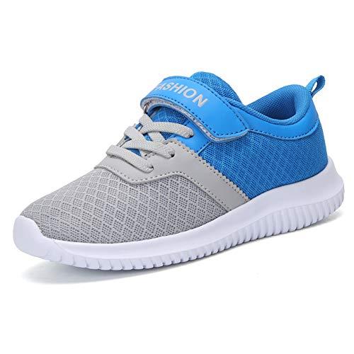 zhenghewyh Turnschuhe Kinder Sneaker Sportschuhe Hallenschuhe Outdoor Laufschuhe Für Unisex-Kinder (35 EU, Grau-2)