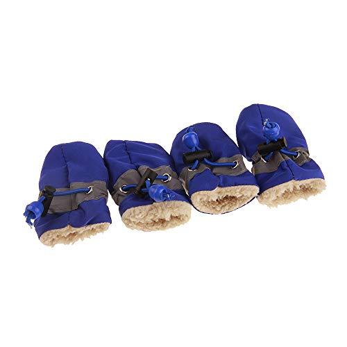 HXHON Hundeschuhe, Pfotenschutz, für den Innenbereich, atmungsaktiv, rutschfest, mit Zwei verstellbaren Riemen, 4 Stück