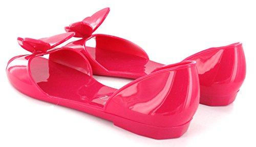 Sandales plates en caoutchouc pour femme, avec un nœud en strass Fuchsia