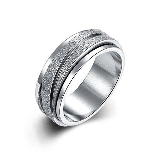 HMILYDYK 8 mm, in acciaio inossidabile con anello a fascia per uomo, donna, colore: argento, misura 40-43, Acciaio inossidabile, 11, cod. GUTGR005-A-6