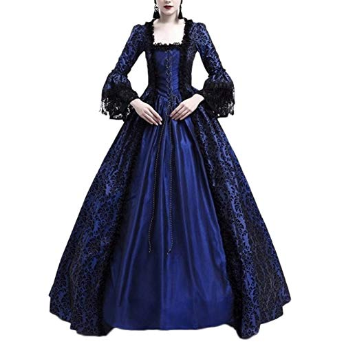 sance Mittelalter Kleid Viktorianischen Königin Kostüm Maxikleid Marine M ()