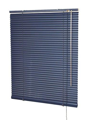 Alu-Jalousie für Fenster und Türen, Breite von 50 bis 220 cm, Höhe 140/150/170/220/240 cm, Wand- und Deckenmontage (Optional mit Klemmträger) - Auswahl: Farbe Marine, Breite x Höhe 100 x 170 cm (Aluminium-marine)