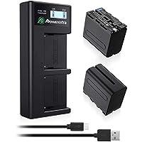 Powerextra 2 Batterie 8800mAh Sony NP-F970/F960/F930/F950 et Batterie de Remplacement et Chargeur Double LCD Compatible avec Sony DCR-VX2100, DSR-PD150, DSR-PD170,HDR-AX2000, HDR-FX7, HDR-FX1000.