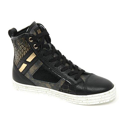 B9522 sneaker donna HOGAN REBEL R141 scarpa pelo patchwork nero/oro shoe woman Nero/Oro