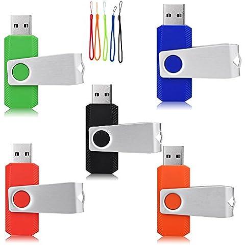 yaxiny 5pcs 2.0/3.0USB unidad Flash Pen Drive Memory Stick pulgar stick pen verde azul negro rojo y naranja 2.0 2.0/4GB