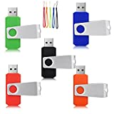 Yaxiny 5PCS 2.0/3.0 USB Flash Drive Pen Drive Memory Stick Thumb Stick Pen Green Blue Black Red Orange (2.0/8GB)