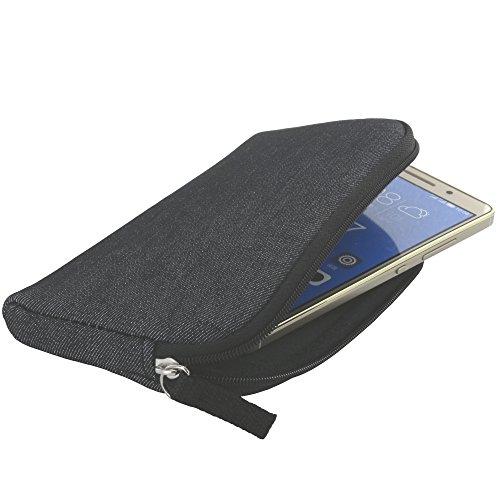 Handyhülle mit Handschlaufe 7.2 - universal Größe 2XL für Huawei P8 P9 P10 Lite / Lenovo Moto G5 Z-Play / LG Q6 - Handytasche schwarz/grau