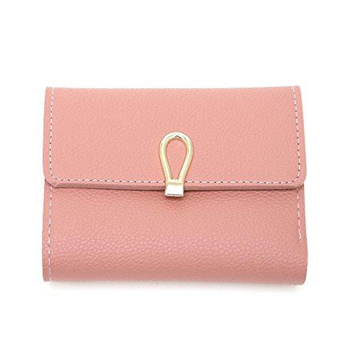 Dairyshop Portamonete da donna Donne Ragazze Faux titolare della carta di credito di identificazione del cuoio della frizione della borsa corta della tasca del raccoglitore (Verde) Profondo rosa