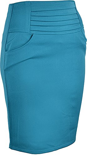 Edler Retro RUFFLE Pin Up Basic 50s PENCIL SKIRT / Rock – Petrol Rockabilly RR90 - 2