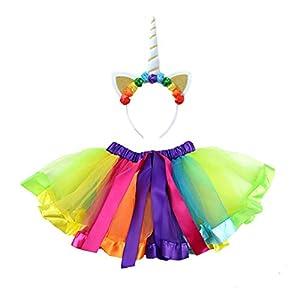 Amosfun Mädchen Tutu Rock mit Einhorn Horn Stirnband für Geburtstagsfeier Leistung Einhorn Geschenke, Einhorn Party Supplies