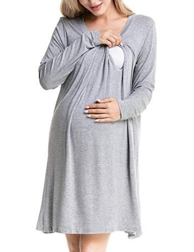 Odosalii Damen Umstandskleid Stillnachthemd Langarm Stillen Kleid A-Linie Layered Schwangere Nachtwäsche Umstandsnachthemd, Misty Grau, M