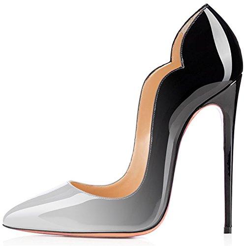 Rouge Grande noir Laçage Talon uBeauty Femmes Escarpins Chaussures Stiletto Aiguille Soles Taille blanc CanAfgqwU