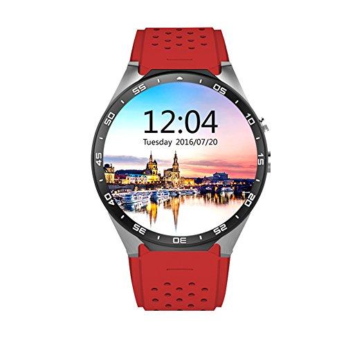 OOZIMO 3G Smartwatch Bluetooth Handy SIM GPS/W-Lan Herzfrequenz-Messgerät Sport Schrittzähler,Red