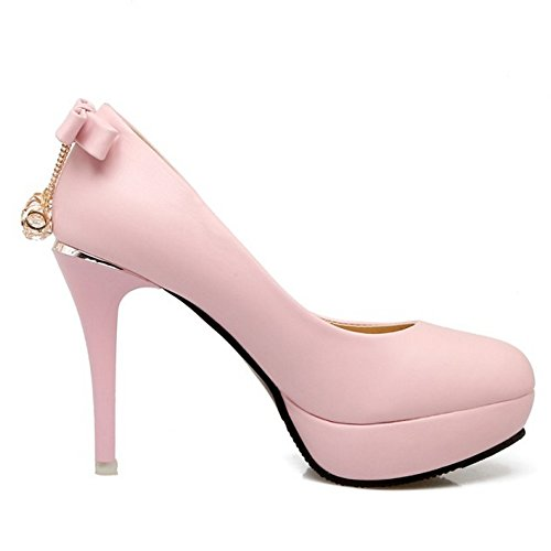 TAOFFEN Damen Mode-Event Stiletto Schlupfschuhe Plateau Pumps 434 Pink