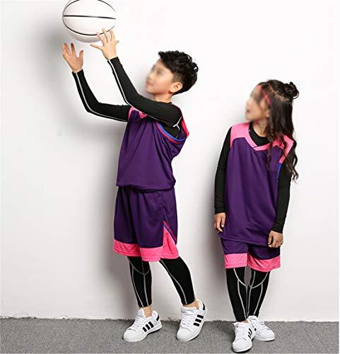 Creing Basketball Trikot Set FüR Kind Erwachsener Jersey Basketball Uniform Sportbekleidung Atmungsaktiv Bekleidung Team Sport T-Shirt Basketball Anzug,Purple,XS120-130CM