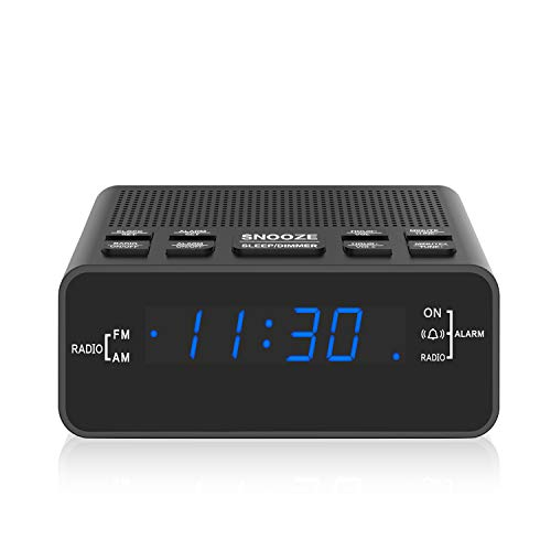 HelloToday Digitaler Radiowecker mit AM/FM, Dimmer, Schlummerfunktion, Sleep Timer für Schlafzimmer/Nachttische-Blaue LED