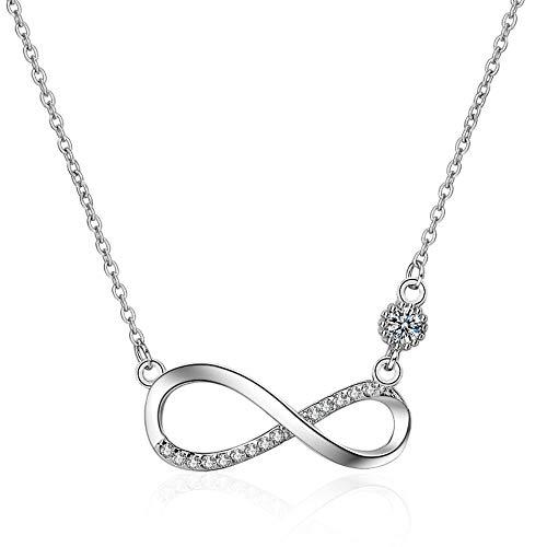 925 Sterling Silber Kette Damen Funkeln Kubisches Zirkonia Kuss Halskette Akzent Unendlichkeit für Immer Ketten für Damen Silber Infinity