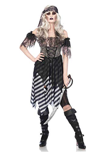 Kostüm Piraten Leg Avenue Herren - Leg Avenue 85561 3 teilig Set Geisterpirat, Damen Karneval Kostüm Fasching, S/M, grau/schwarz