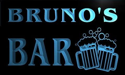 w001119-b BRUNO'S Nom Accueil Bar Pub Beer Mugs Cheers Neon Sign Biere Enseigne Lumineuse