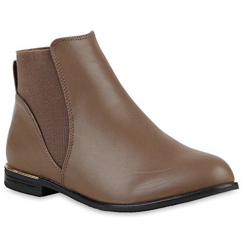 Klassische Stiefeletten Damen Metallic Lederoptik Boots Khaki
