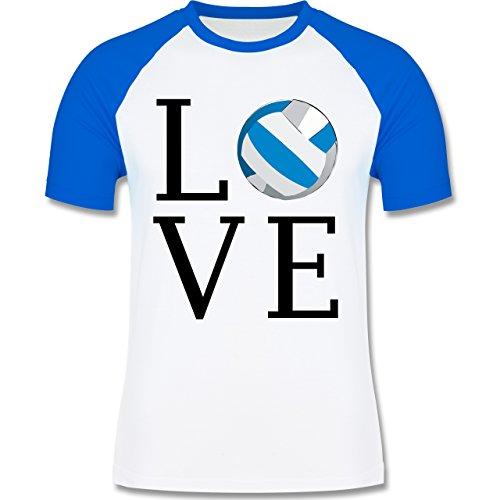 Volleyball - Love Volleyball - zweifarbiges Baseballshirt für Männer Weiß/Royalblau