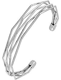 The Jewelbox Designer Wavy Wire Rhodium Brass Free Size Adjustable Cuff Kada Bangle Bracelet For Women