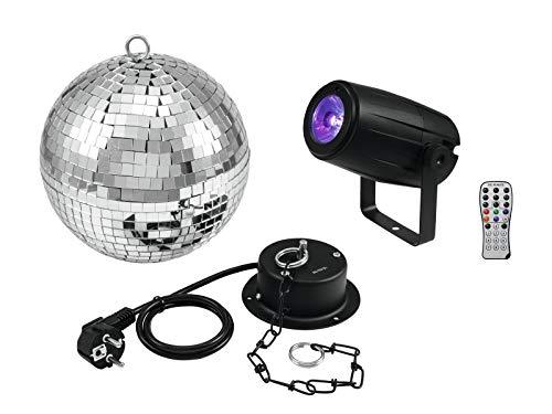 Eurolite Set Spiegelkugel 20 cm mit Motor + LED Pinspot PST-5 QCL schwarz mit 5-Watt-4in1-LED in RGBW