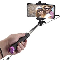 Power Theory Perche Selfie Stick avec Câblé [Sans Batterie, sans Bluetooth] Selfiestick pour iPhone XS Max/XR/X/X/8/7/6S/SE, Samsung Galaxy S10/S9/S8/S7/S7 et tous les Smartphones Selfi Monopod [Rose]