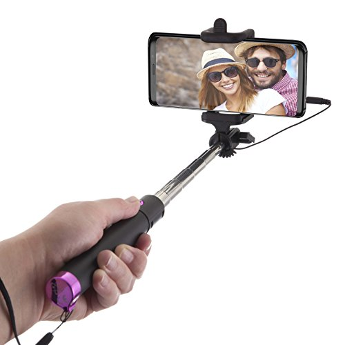 Power Theory Selfie Stick - Batterieloser Selfiestick ohne Bluetooth für iPhone XS Max X 8 7 Plus 6s 6 SE 5S 5 Samsung Galaxy Android S9 S8 S7 Edge S6 S5 S4 Note Mini GoPro Smartphone - Universal Monopod Stab mit AUX Kabel (Pink)
