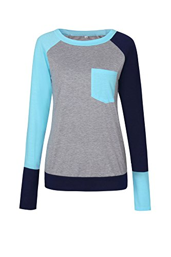 Freestyle Femme Printemps Pulls avec Poche Tee Shirt Haut Sweat-Shirts Unique Couleur Couture T-Shirts Sweats Casual Top à Manche Longue Blouses Bleu clair