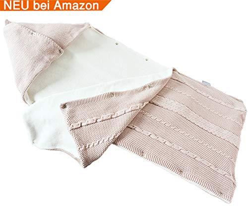 sei Design sei Design Baby Schlafsack gestrickt aus 100% Baumwolle | Erstlingsdecke | Puckdecke Swaddle in hübscher Geschenk-Verpackung