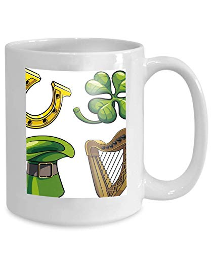 tasse kaffee tee tasse saint patricks tag symbole set colourfuls isolated white background file enthält keine farbverläufe 110z -