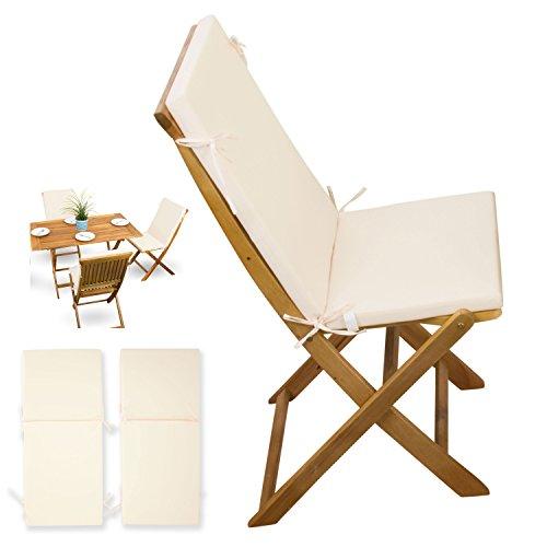 2-tlg-Auflagen-Set-creme-weiss-fr-Gartenmbel-Holz-Sets-Gartenstuhl-Klappstuhl-2x-Sitz-Auflagen-mit-Rckenteil