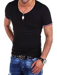 MT Styles col en V profond T-Shirt contrasté BS-530