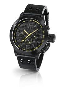 Reloj TW Steel Canteen Style de caballero de cuarzo con correa de piel negra (cronómetro) de TW Steel