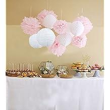 Furuix - Set di fiori, pompon e sfere in carta velina da appendere, 12 pezzi, decorazioni per esterni, adatte per matrimoni, ricevimenti, Baby Shower e feste oppure come decorazioni per sale e camere da letto, colore: bianco e rosa