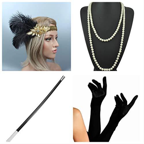 aut Flapper Set + Stirnband + Halskette + Handschuhe + Zigarettenhalter - 20er Jahre Kostüm-Set für Damen - perfekt für Fasching & Karneval (7) ()